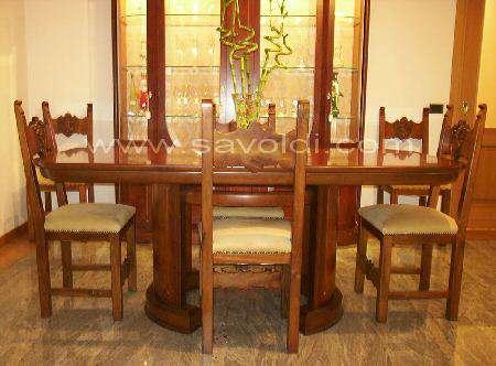 Vista laterale Tavolo Reale intarsiato in Radica di Mirto Stile Liberty